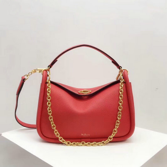 2018 Mulberry Small Leighton Bag in Coral Rose Small Classic Grain Leather