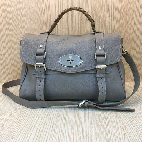 Mulberry Standard Alexa Satchel Bag Grey Grain Leather