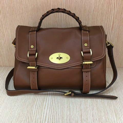 Mulberry Standard Alexa Leather Satchel Bag Oak