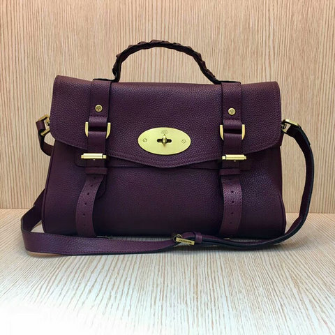 Mulberry Standard Alexa Satchel Bag Purple Grain Leather