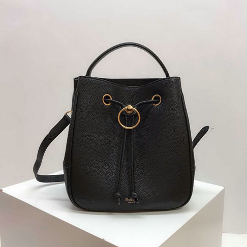 2019 Mulberry Hampstead Bucket Bag Black Small Classic Grain