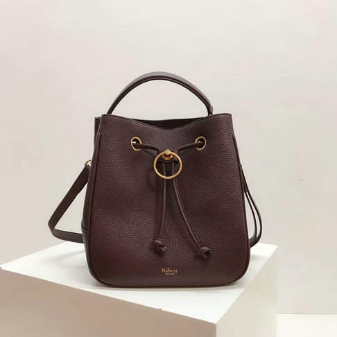 2019 Mulberry Hampstead Bucket Bag Burgundy Small Classic Grain