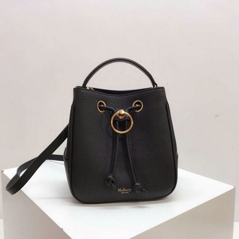 2019 Mulberry Small Hampstead Bucket Bag Black Small Classic Grain