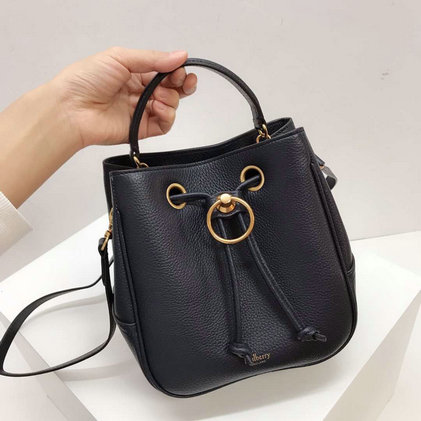 2019 Mulberry Small Hampstead Bucket Bag Midnight Small Classic Grain
