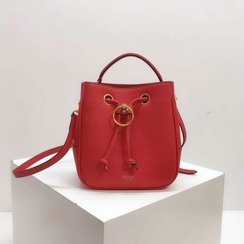 2019 Mulberry Small Hampstead Bucket Bag Red Small Classic Grain