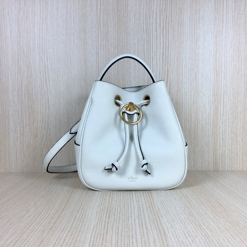 2019 Mulberry Small Hampstead Bucket Bag White Small Classic Grain