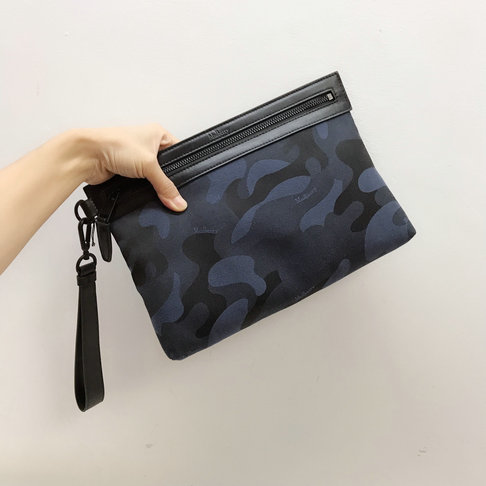 2019 Mulberry Soft Zipped Pouch Midnight & Black Camo Jacquard