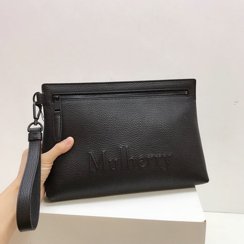 2019 Mulberry Soft Zipped Pouch Black Classic Grain Leather