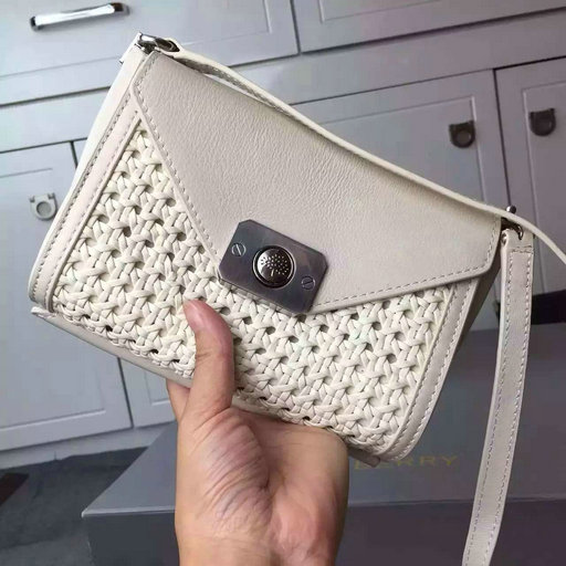 2015 Cheap Mulberry Delphie Cream Calf & Woven Leather