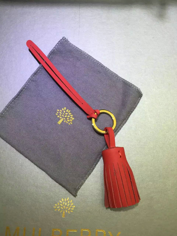 2015 Mulberry Tassel Keyring in Red Nappa Leather