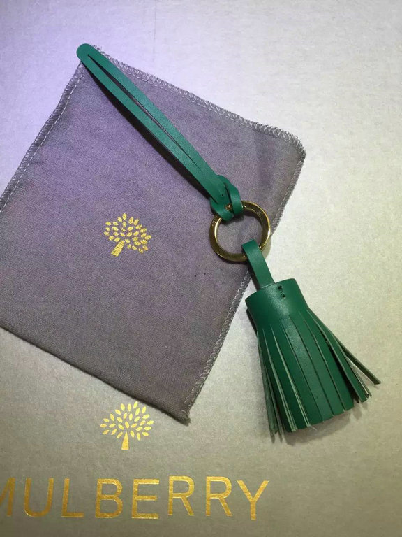 2015 Mulberry Tassel Keyring in Green Nappa Leather