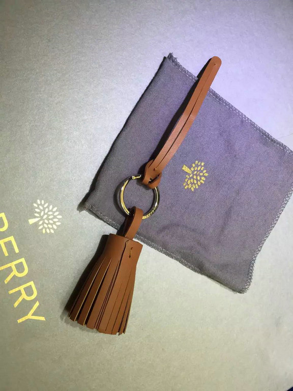 2015 Mulberry Tassel Keyring in Oak Nappa Leather