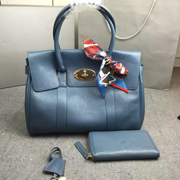 Hottest Mulberry Bayswater Handbag in Blue Leather