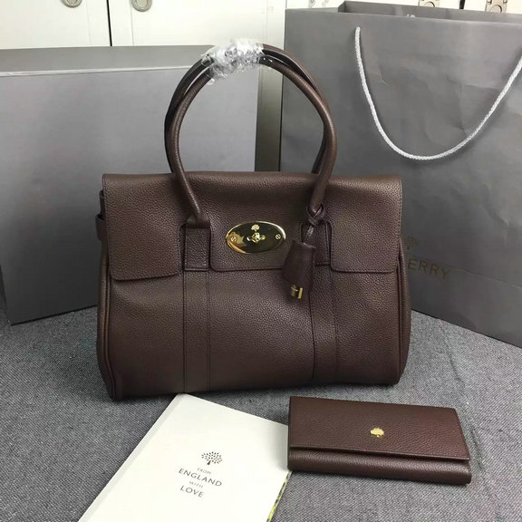 Hottest Mulberry Bayswater Handbag in Khaki Small Grain Leather