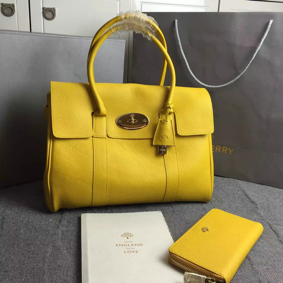 Hottest Mulberry Bayswater Handbag in Yellow Small Grain Leather