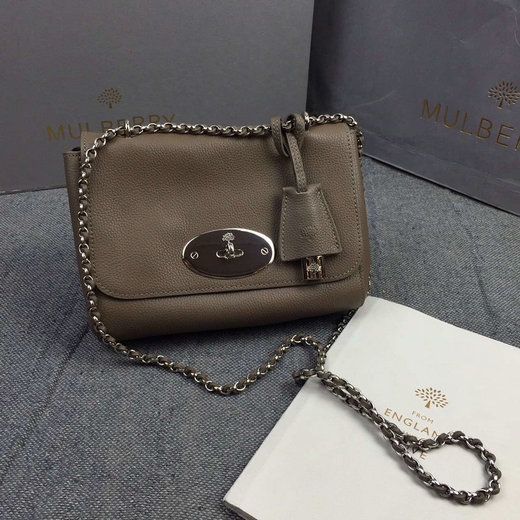 2016 Mulberry Lily Shoulder Bag in Dark Khaki Soft Grain Leather
