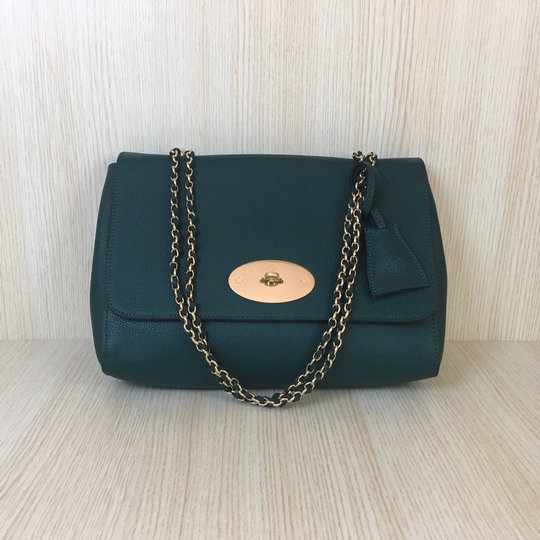 2016 Mulberry Medium Lily Bag in Green Soft Grain Leather