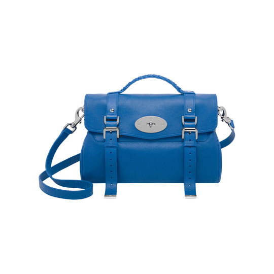 2014 Latest Mulberry Alexa Bag in Bluebell Blue Polished Buffalo Leather