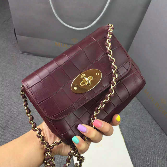 2016 Spring Mulberry Mini Lily Bag in Oxblood Croc Leather