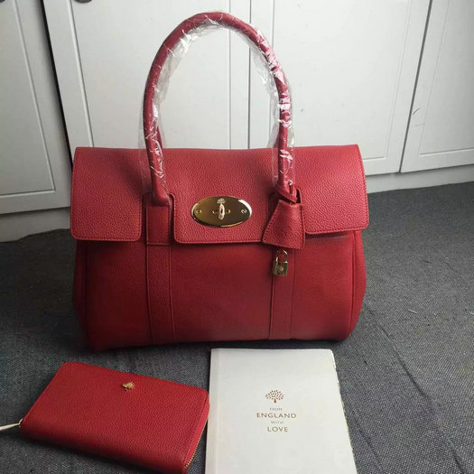 Hottest Mulberry Bayswater Handbag in Fiery Spritz Small Classic Grain Leather