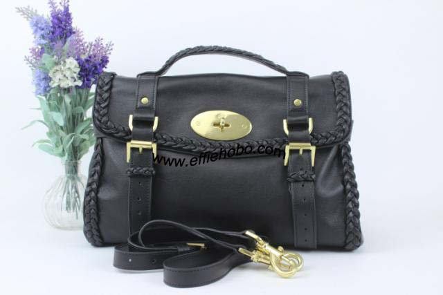 Mulberry Alexa Bag with Woven Trim Black Leather