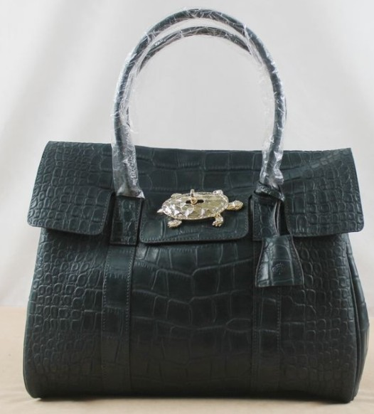 Mulberry Bayswater Navy Croc Print Leather