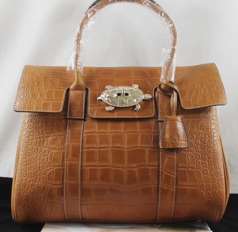 Mulberry Bayswater Oak Croc Print Leather