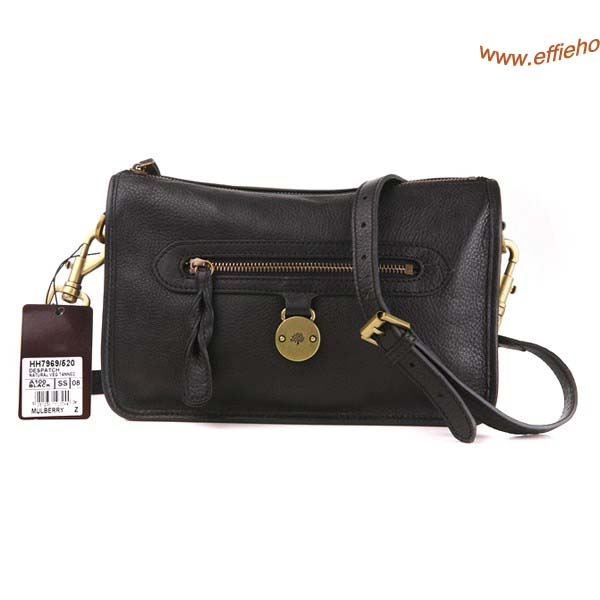 Mulberry Somerset Satchel Bag Black Pebbled Leather