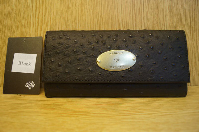 Mulberry Continental Wallet 8541 Black Ostrich Leather