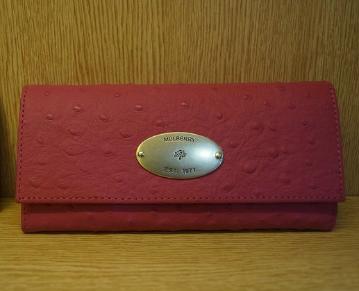 Mulberry Continental Wallet 8541 Rose Ostrich Leather