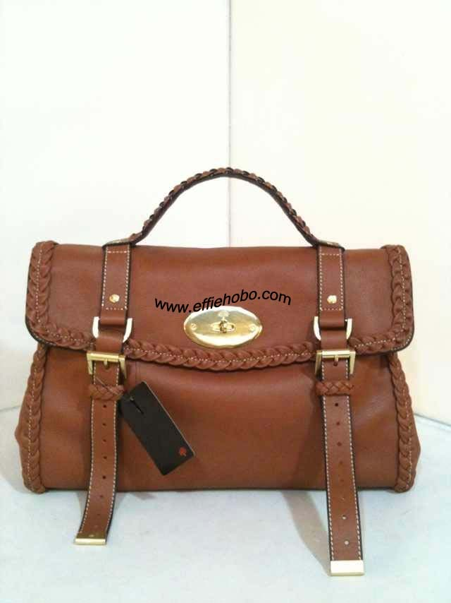 Mulberry Alexa Bag with Woven Trim Oak Leather