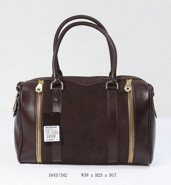 Mulberry Tasha Bowling Bag Chocolate Calf & Suede Mix Leather