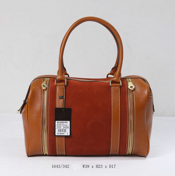 Mulberry Tasha Bowling Bag Oak Calf & Suede Mix Leather