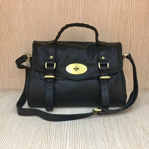 Mulberry Standard Alexa Leather Satchel Bag Black