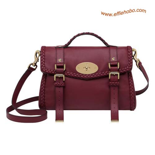 Mulberry Alexa Bag with Woven Trim Berry Leather
