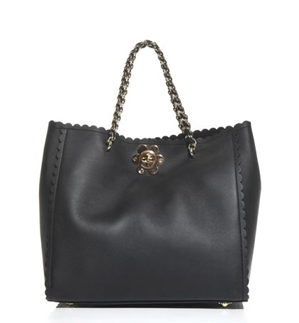 Mulberry Cecily Flower Clasp Tote Black Classic Calf Leather
