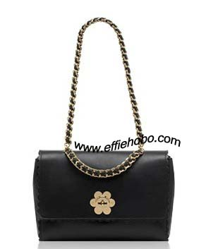 Mulberry Medium Cecily with Flower Black Classic Calf Leather