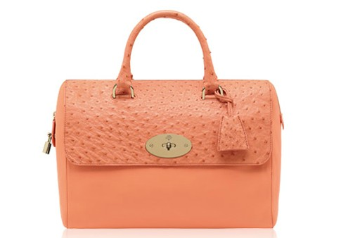 Mulberry Del Rey Bag Bright Apricot Classic Calf/Ostrich Mix