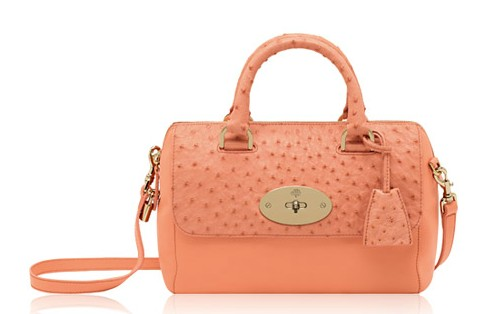 Mulberry Small Del Rey Bag Bright Apricot Classic Calf/Ostrich Mix