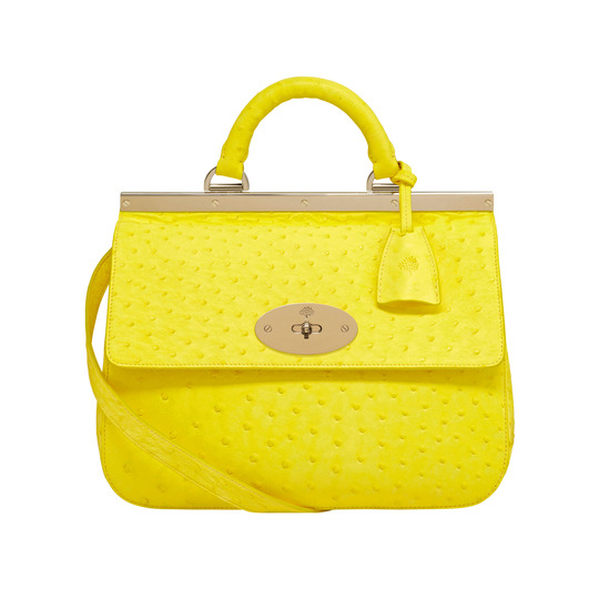 Mulberry Small Suffolk in Neon Yellow Ostrich Leather
