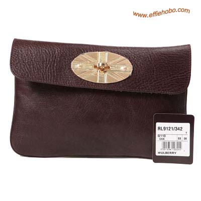 Mulberry Postman Lock Leather Clutch Bag Brown