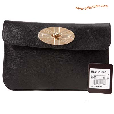 Mulberry Postman Lock Leather Clutch Bag Black