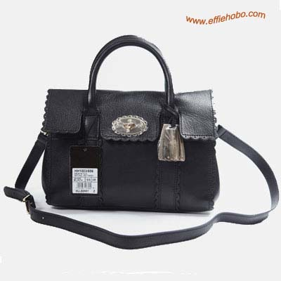 Mulberry Bayswater Trimming Leather Satchel Bag Black