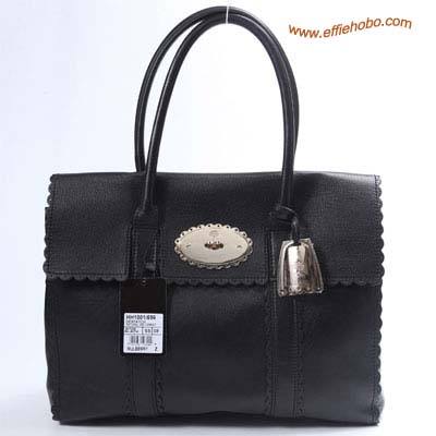 Mulberry Bayswater Trimming Leather Tote Bag Black