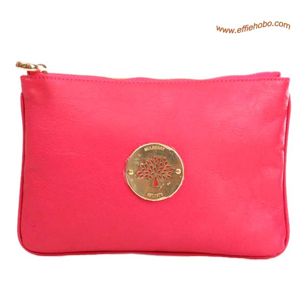 Mulberry Small Daria Leather Clutch Bag Red