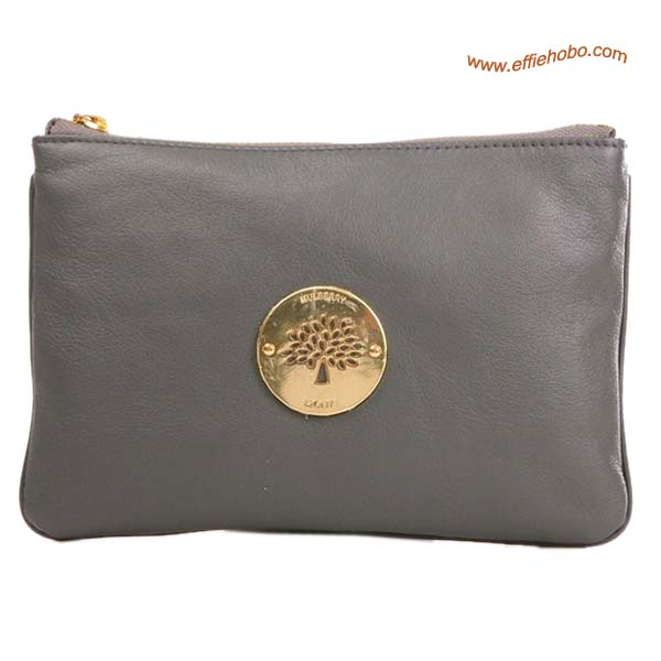 Mulberry Small Daria Leather Clutch Bag Grey