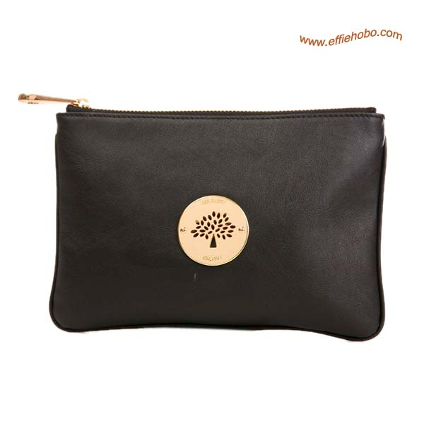 Mulberry Small Daria Leather Clutch Bag Black