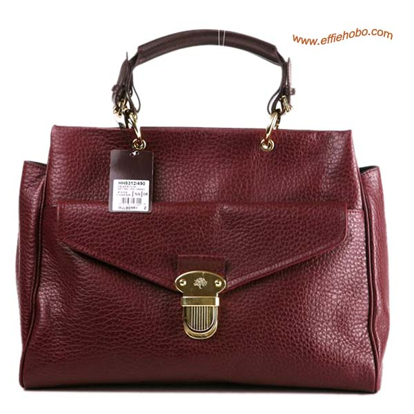 Mulberry Polly Push Lock Leather Tote Bag Purplish Red