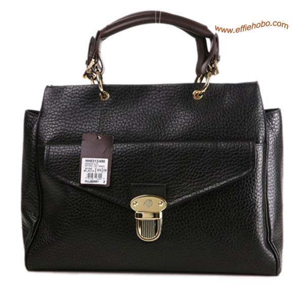 Mulberry Polly Push Lock Leather Tote Bag Black