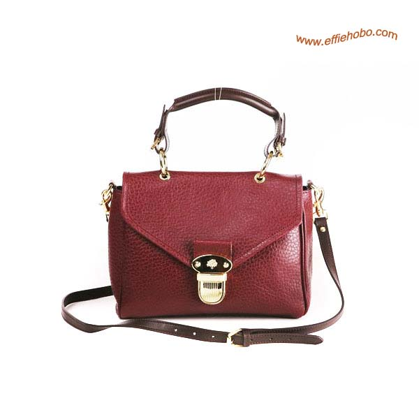 Mulberry Small Polly Push Lock Satchel Bag Purple Red
